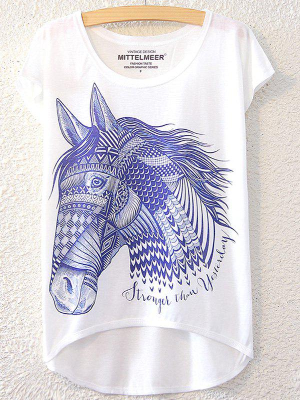 Chic Horse Pattern Short Sleeve T-Shirt For Women - WHITE ONE SIZE(FIT SIZE XS TO M)
