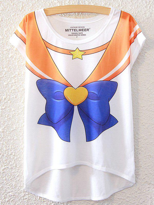 Chic Bowknot Pattern Short Sleeve T-Shirt For Women - WHITE ONE SIZE(FIT SIZE XS TO M)