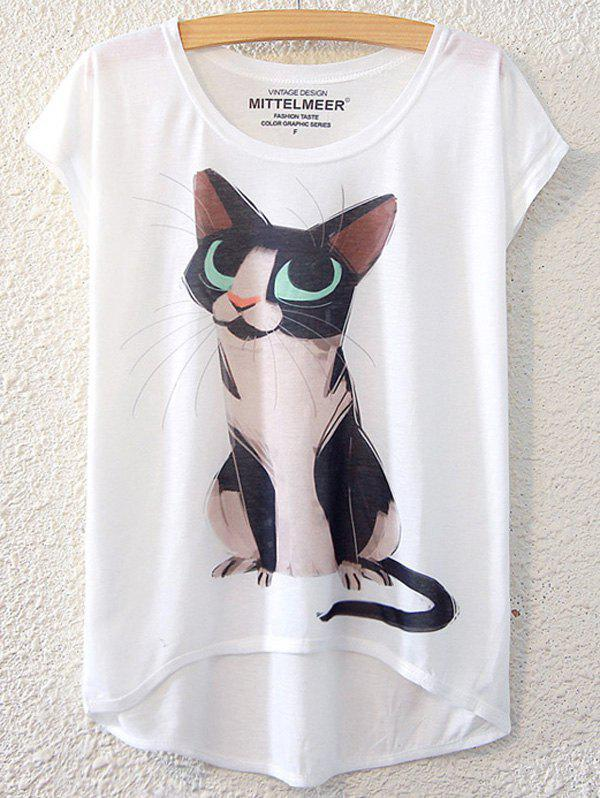 Chic Kitten Pattern Short Sleeve T-Shirt For Women - WHITE ONE SIZE(FIT SIZE XS TO M)