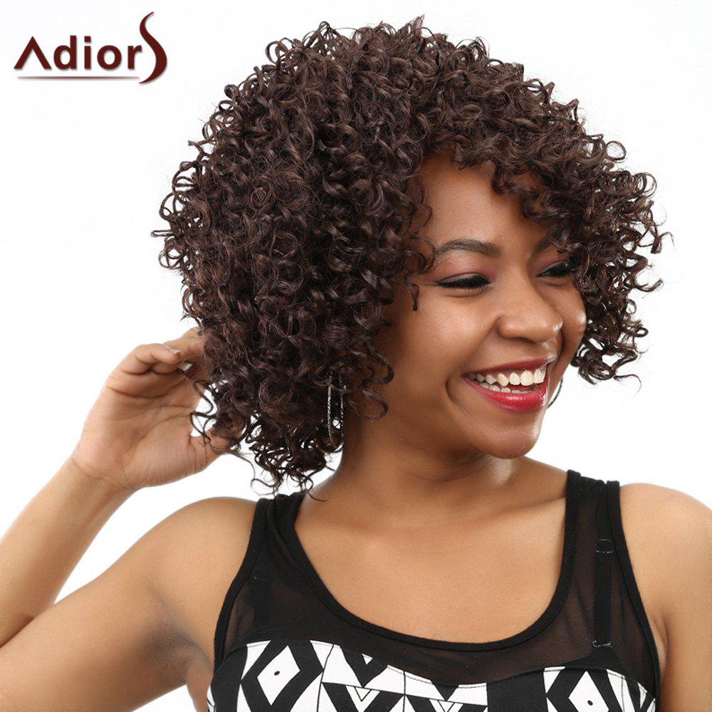 Natural Black Synthetic Hair High Temperature Fibre Vogue Women's Short Kinky Curly Afro Wig - BROWN