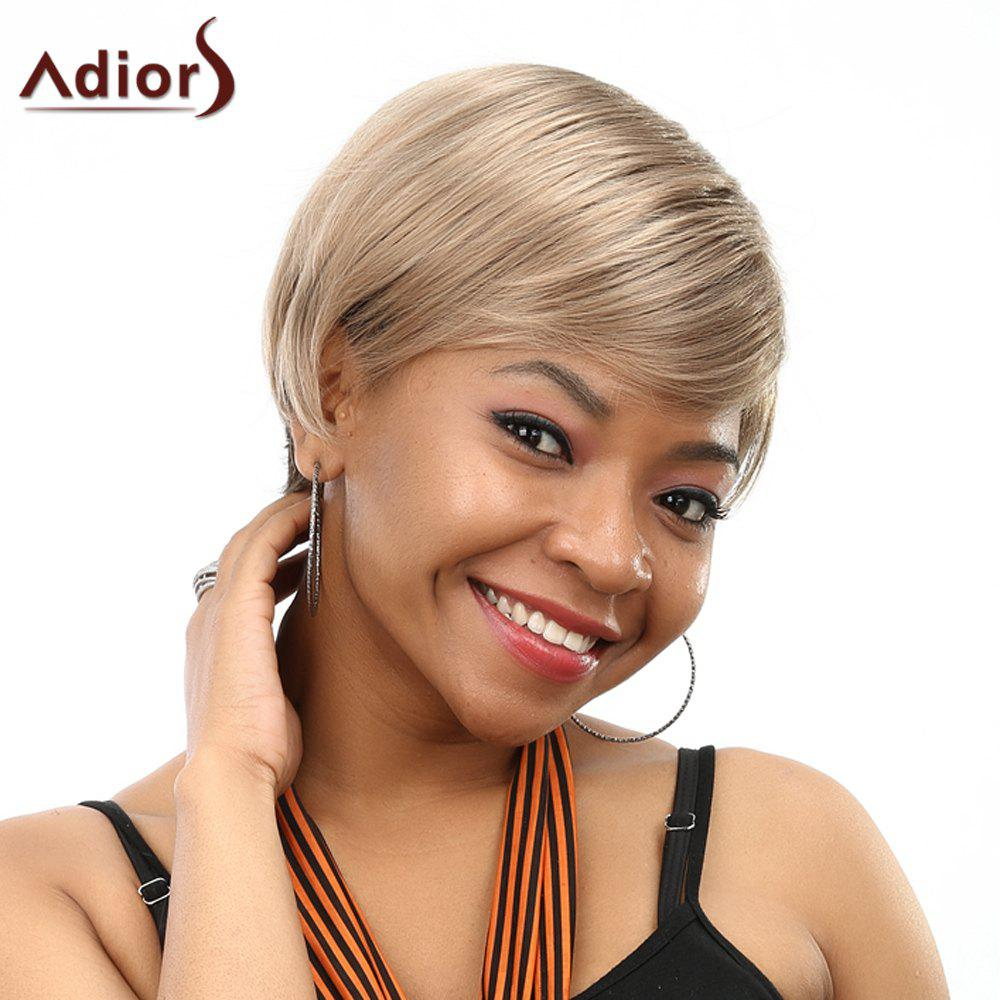 Fashion Side Bang Blonde Mixed Brown Elegant Short Straight Women's SyntheticWig - COLORMIX