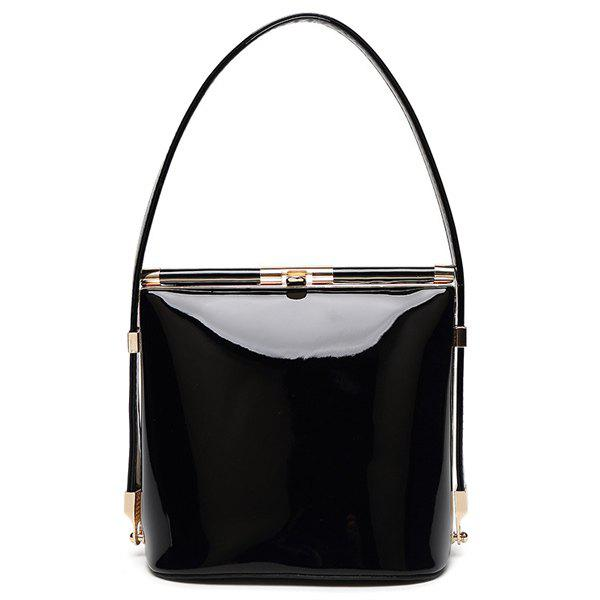 Candy Color Hasp and Solid Color Design Women's Tote Bag - BLACK