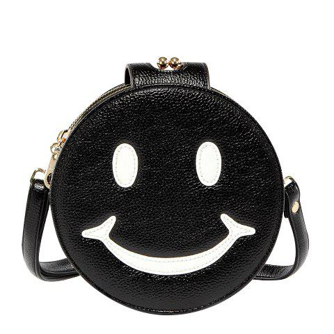 Leisure Smiling Face and Round Shape Design Women's Crossbody Bag - BLACK