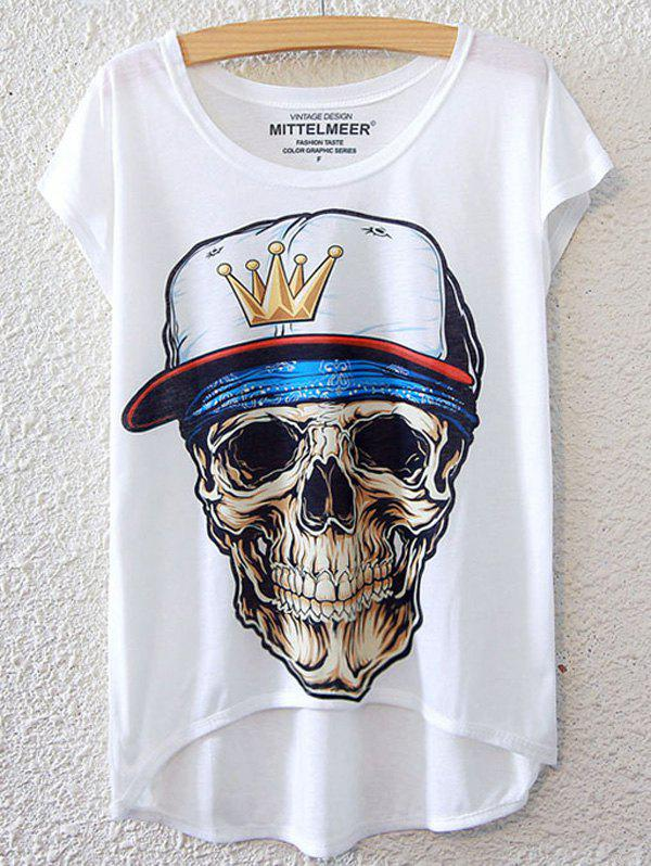 Chic Skulls Pattern Short Sleeve T-Shirt For Women - WHITE ONE SIZE(FIT SIZE XS TO M)