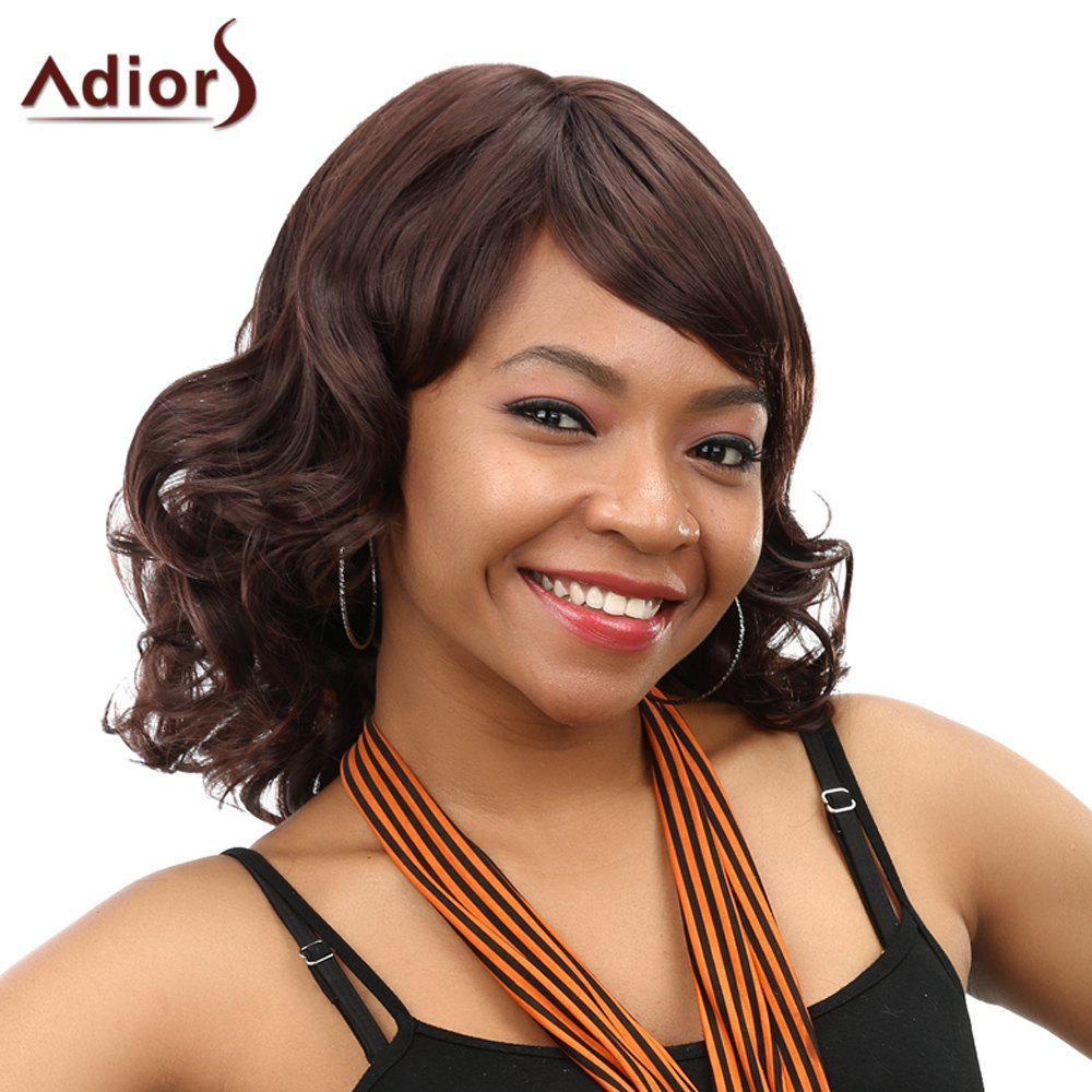 Fluffy Curly Dark Brown Synthetic Stunning Full Bang Medium Capless Wig For Women - DEEP BROWN