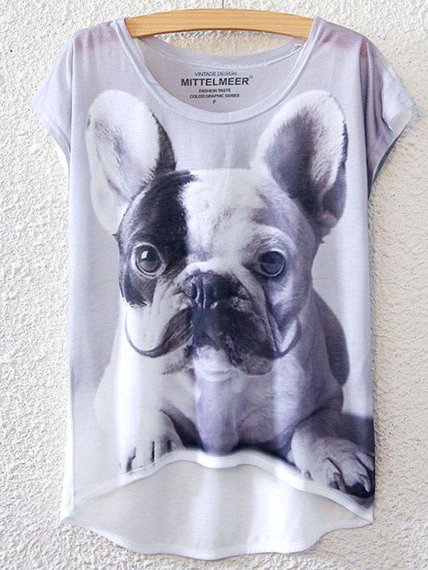 Chic Dog Pattern Short Sleeve T-Shirt For Women - WHITE ONE SIZE(FIT SIZE XS TO M)