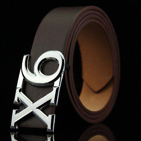 Stylish Letter X and Number 6 Shape Alloy Embellished Men's Belt - COFFEE