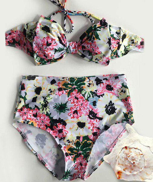 Stylish Women's Halterneck Floral Print Bowknot Bikini Set - LIGHT YELLOW M