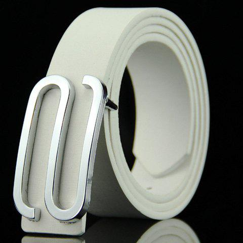 Stylish Big Letter S Shape Alloy Embellished Men's Belt - WHITE