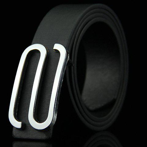 Stylish Big Letter S Shape Alloy Embellished Men's Belt - BLACK