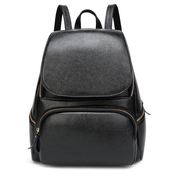 Simple Solid Color and Magnetic Closure Design Women's Satchel - BLACK