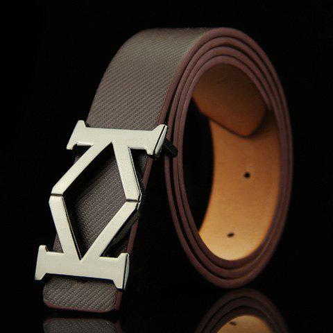 Stylish Aspectant Letter K Shape Alloy Embellished Men's Belt -  COFFEE