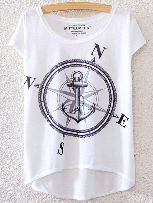 Chic Anchor Pattern Short Sleeve T-Shirt For Women - WHITE ONE SIZE(FIT SIZE XS TO M)