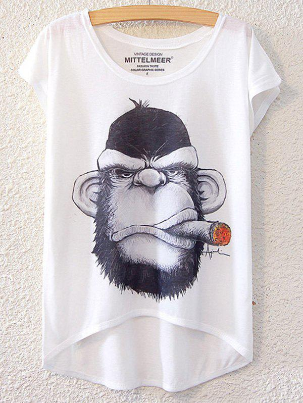 Chic Gorilla Pattern Short Sleeve T-Shirt For Women - WHITE ONE SIZE(FIT SIZE XS TO M)