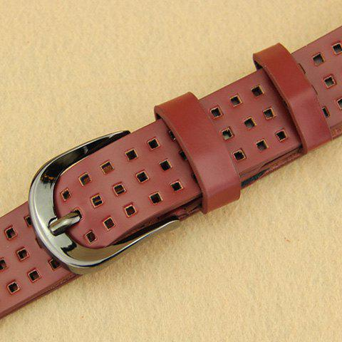 Chic Hollow Small Checkered Pin Buckle Women's Belt - RED