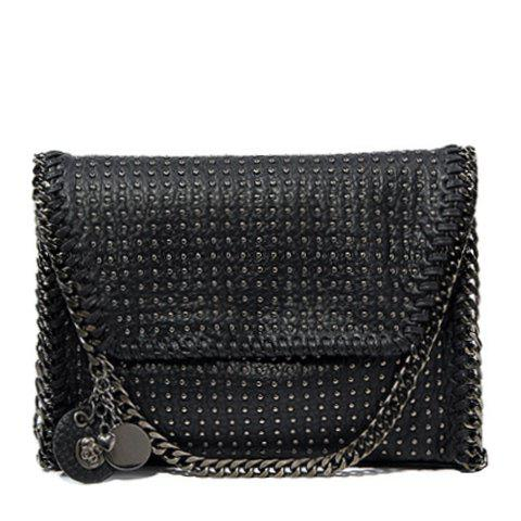 Punk Rivets and Chains Design Women's Crossbody Bag - BLACK