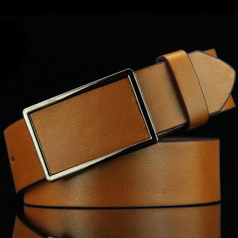 Stylish Smooth Rectangle Buckle Men's Belt - BROWN