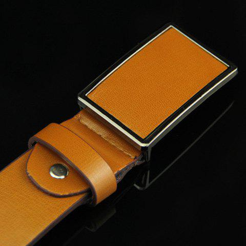 Stylish Smooth Rectangle Buckle Men's Belt - COFFEE