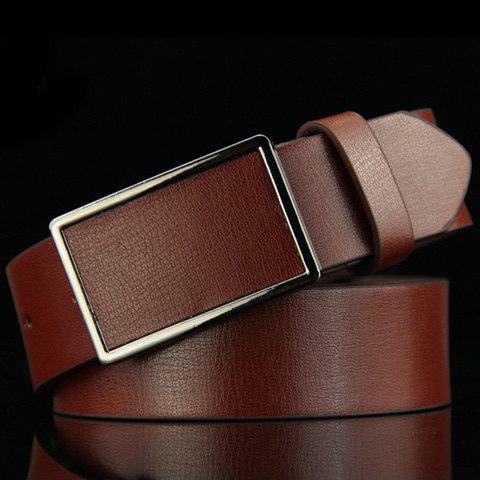Stylish Smooth Rectangle Buckle Men's Belt -  DEEP BROWN