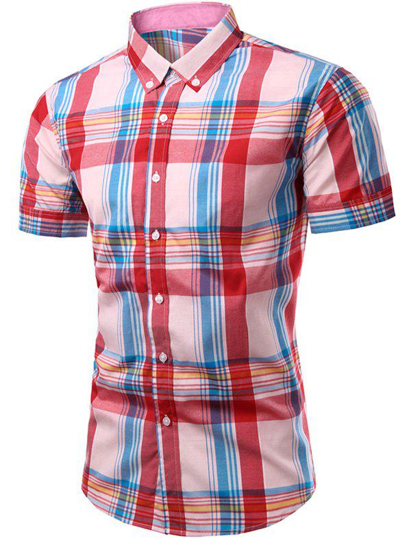Men's Fashion Checked Printing Single Breasted Shirt - CHECKED 2XL
