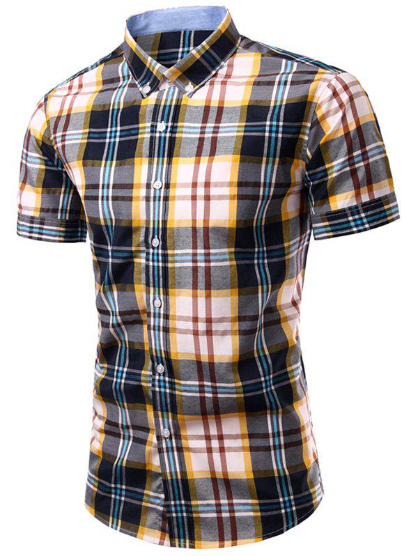 Men's Stylish Checked Printing Single Breasted Shirt - CHECKED L