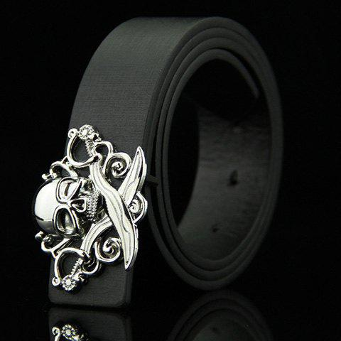Stylish Skull and Broadsword Shape Embellished Men's Belt - BLACK