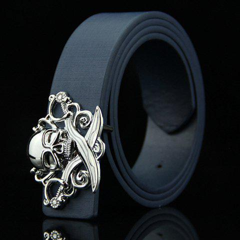 Stylish Skull and Broadsword Shape Embellished Men's Belt - DEEP BLUE