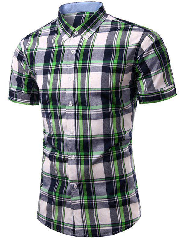 Casual Men's Single Breasted Checked Printing Shirt - CHECKED M