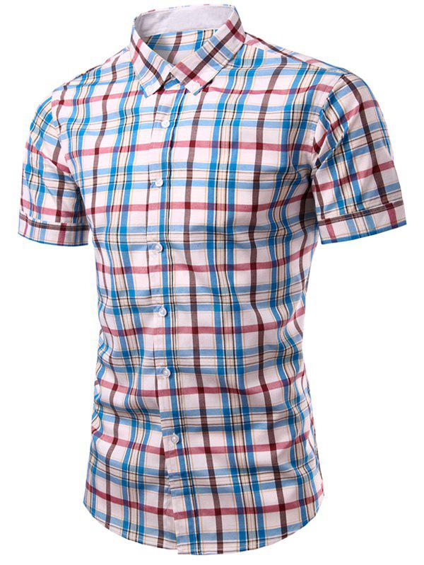 Shirt simple boutonnage Plaid Impression Hommes Casual  's - Carré 3XL