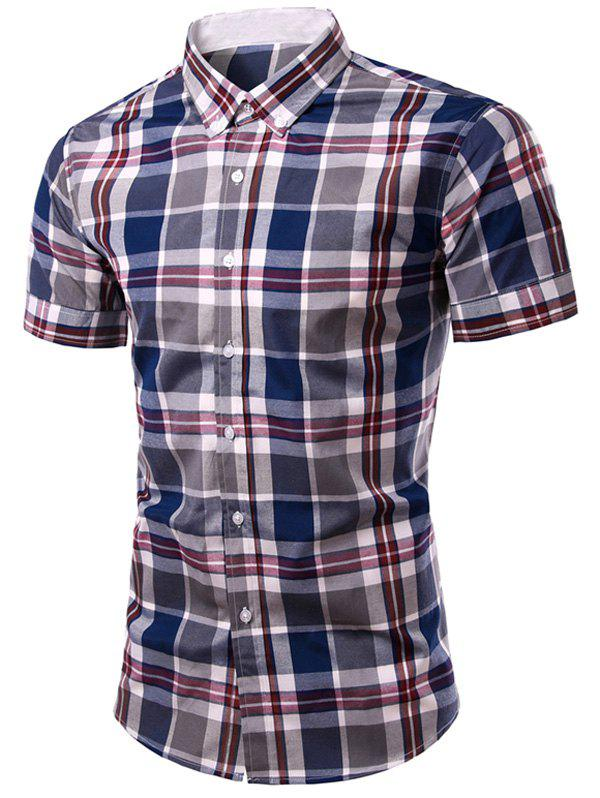 Fashion Men's Single Breasted Plaid Printing Shirt - CHECKED L