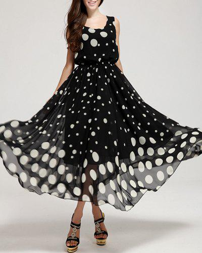 Trendy Sleeveless Scoop Neck Polka Dot Print Elastic Waist Women's Sundress - BLACK M