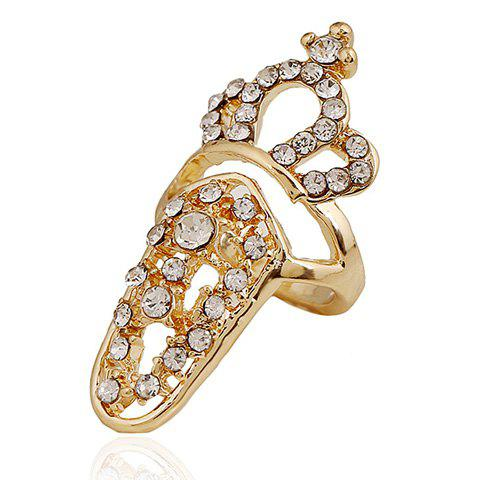 Retro Rhinestoned Crown Hollow Out Nail Ring For Women - GOLDEN