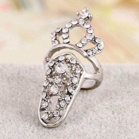 Retro Rhinestoned Crown Hollow Out Nail Ring For Women