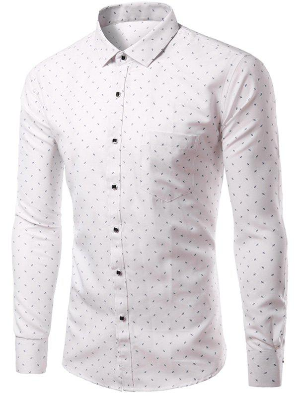 s Mode Hommes  Turn Down Collar Shirt unique poitrine Impression - Blanc L