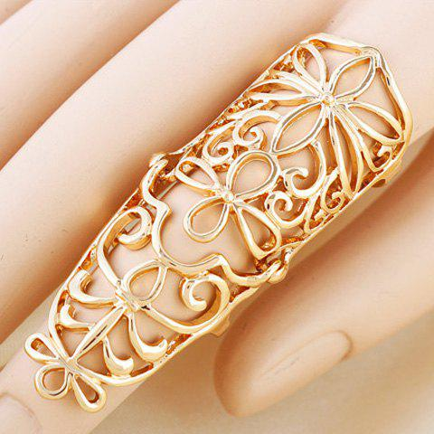Retro Flower Hollow Out Full Finger Ring For Women