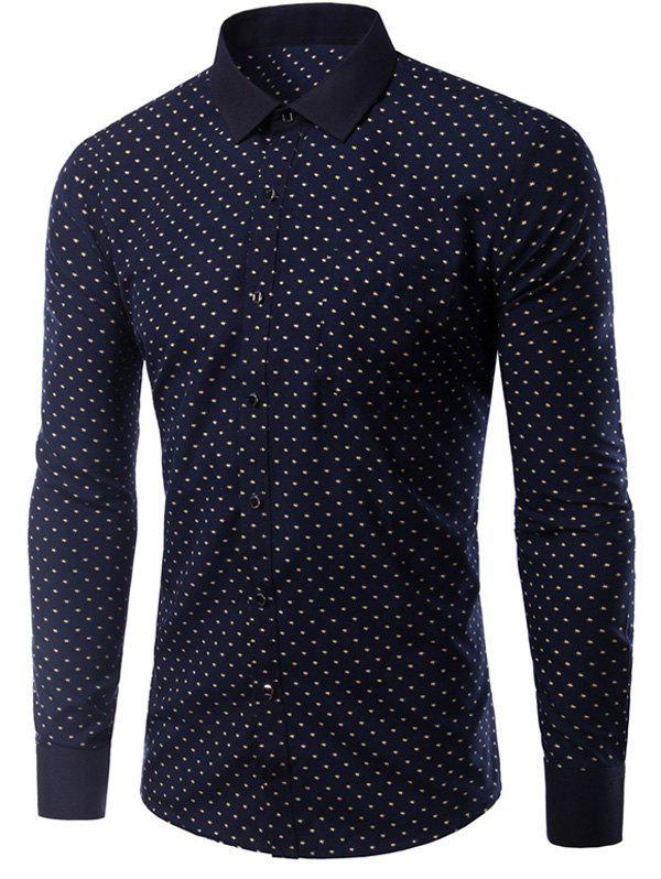 Stylish Men's Turn Down Collar Single Breasted Printing Shirt - CADETBLUE M