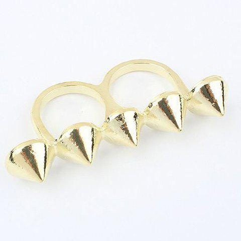 Stylish Pointed Cone Solid Color Double Fingers Ring For Women