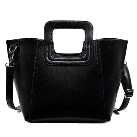 Concise Stitching and PU Leather Design Women's Tote Bag - BLACK