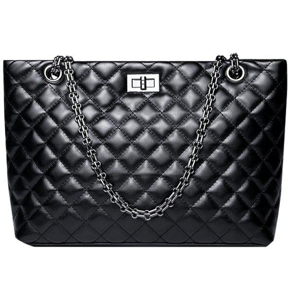 Fashion Black Color and Chain Design Women's Crossbody Bag