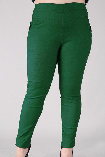Fashionable Women's High-Waisted Stretchy Plus Size Pants - BLACKISH GREEN 2XL