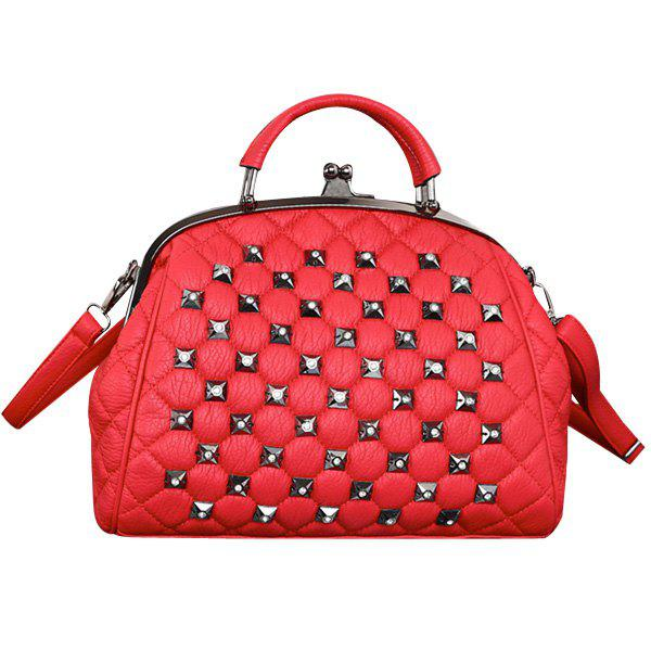 Fashion Kiss Lock Closure and Rivets Design Women's Tote Bag - RED