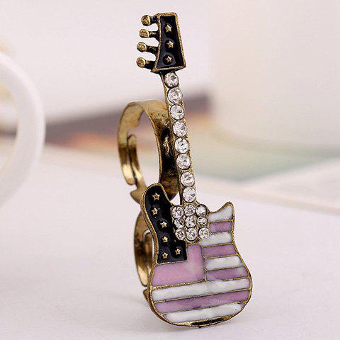 Rhinestoned Guitar Star Double Fingers Ring - PINK