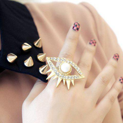 Rhinestone Faux Pearl Eye Ring - GOLDEN