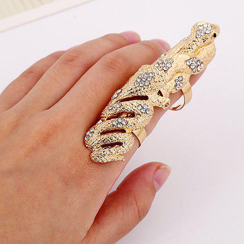 Snake Rhinestone Full Finger Ring - GOLDEN
