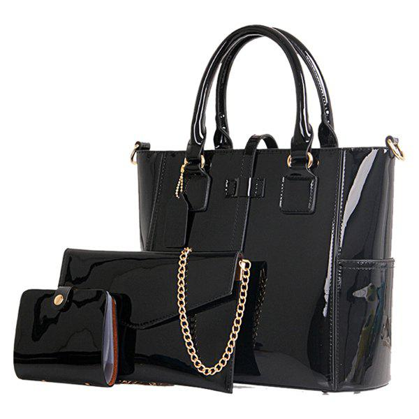 Stylish Patent Leather and Solid Color Design Women's Tote Bag - BLACK