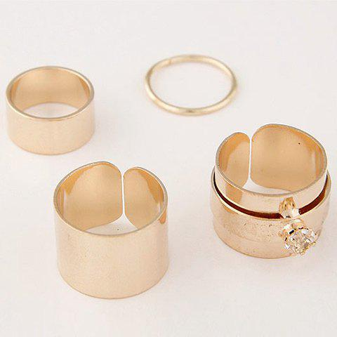 4 Pcs/Set Gold Plated Rhinestone Opening Rings - GOLDEN