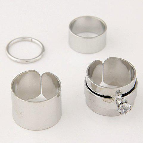 4 Pcs/Set Gold Plated Rhinestone Opening Rings - SILVER