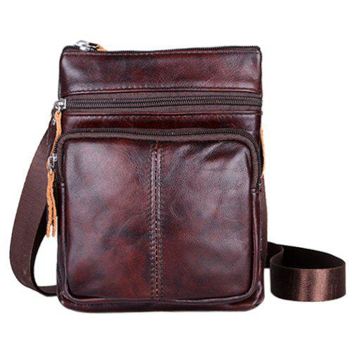 Fashion Solid Color and Zip Design Men's Messenger Bags - BLACK BROWN
