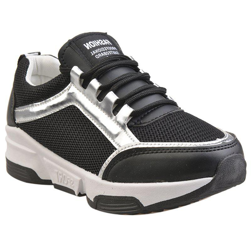 Trendy Splicing and Colour Matching Design Women's Athletic Shoes - BLACK 38