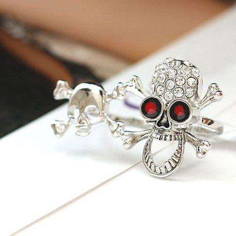 Retro Rhinestoned Skull Double Fingers Ring - SILVER